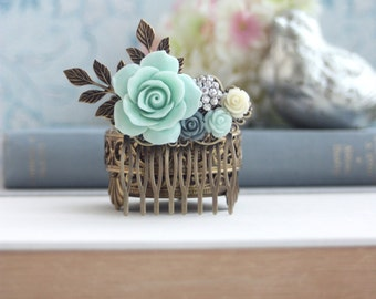 Mint and Blue Flower Hair Comb. Mint, Ivory, Brass Leaf, Rhinestone Comb, Bridesmaid Gift, Mint Rustic Wedding, Mint Wedding, Something Blue