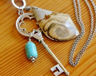 Picture jasper pendant necklace, multi-layered charm necklace, big bold chunky pendant, magnesite pendant, natural stone necklace, bohemian