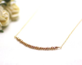 Tiny Golden Pearl Bar Layering Necklace in Gold | Soft, Golden Freshwater Pearls on Fine Gold Chain | P'tite Jolie by Azki