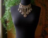 Antique Bib Necklace - Victorian Brass Book Chain - Art Nouveau Bohemian Statement Jewelry - Silver Filigree Fringe Choker - Circa 1940s