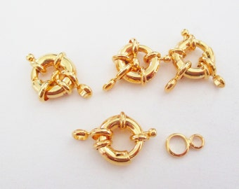 Gold Spring Clasps - Open Ring - Round Spring Clasp - 4 pcs - 14mm - Necklace Finishes - Clasp With attachment - DIY Metal Jewelry Supplies