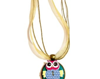Upcycled Jewelry, Cute Owl Necklace, Button Necklace, Pendant, Owl Jewelry, Gift For Girl