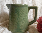 Green Pottery Pitcher Vintage at Quilted Nest