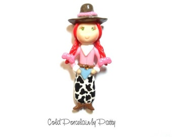 Redhead Cowgirl Clay Figurine - Cowgirl Pendant, Bow Center, Clay Charm, Magnet, Brooch, Cowgirl Ornament, Cold Porcelain Clay Cowgirl