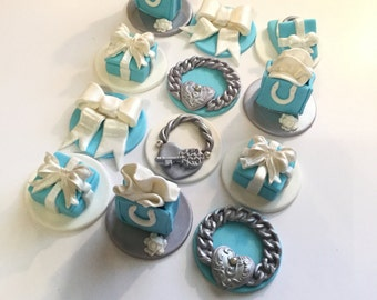 Fondant  Designer Teal Cupcake Toppers/Cake Toppers/ Cookie Toppers. Set of 12