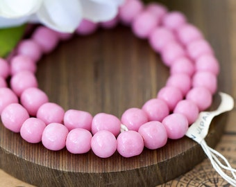 Vintage Japan Opaque Pink Baroque Glass Beads