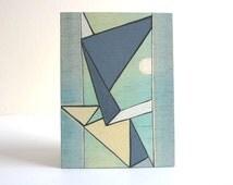 ACEO original mini art painting, geometric art, Moonlight, sky blue, mint, aqua