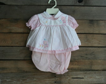 Vintage Pink & White Children's Teddy Bear Dress with Bloomers Size 6-9 Months