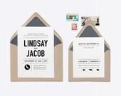 "Custom ""State Grid"" Wedding Invitation + RSVP Rubber Stamp"