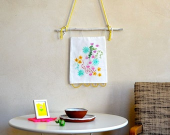 Original Embroidery Art Wall Hanging Floral Abstract