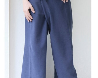 Free Shipping, Thai Fisherman Pants, Yoga Pants, Cotton Comfy Summer Beach Pants, Loose Fit Maternity Pants in Dark Blue