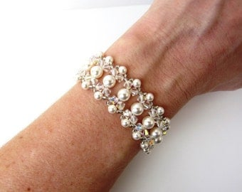Bridal Bracelet, Pearl Bridal Jewelry, Pearl Bracelet, Crystal Bracelet, Bridal Cuff, Wedding Jewelry, Wedding Bracelet, Pearl Bridal