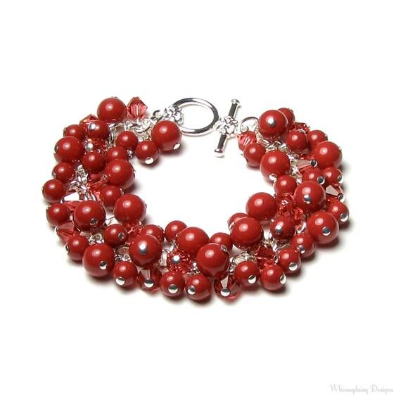 Brick Red Coral Swarovski Crystal & Swarovski Pearl Cluster Silver Beaded Charm Bracelet, Gifts For Women, Jewel Tone Crystal Fall Bracelet