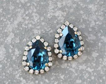 Navy Blue Pear Earrings Swarovski Crystal Blue Bridal Wedding Diamond Rhinestone Drop Stud Duchess Pear Halo Earrings Mashugana