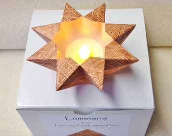 Small Luminary - Hand-painted, Origami-folded Paste Paper - Brown