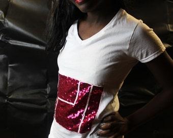 pink Sequin Top, short Sleeve Shirt, Sequin TShirt, indie t-shirt reverse Applique top Handmade top personalised womens t-shirt