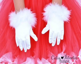 READY TO SHIP: Santa Sweetie - Fur Trimmed Satin Wrist Gloves - White - Christmas or Holiday Accessory - Fits 0-3 or 4-7 Years