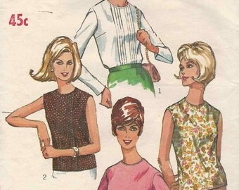 Simplicity 6449 Shell top or blouse round neckline with pintucks sleeveless or long sleeves Size 16
