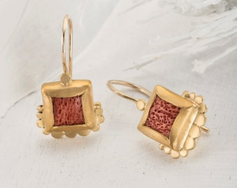 Coral Earrings, Red coral Earrings, 22k Gold Earrings, Coral jewelry, Gold Dangle Earrings, Square Earrings, Fine Jewelry, Artisan Earrings