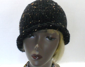 Black Tweed Rolled Brim Hat, Hand Knit Retro Hat, Twenties Style Knitted Cloche, Handmade in the USA, Ready to Ship