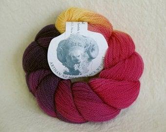 Merino hand-dyed handspun Artisan NZ Lace Weight New Zealand yarn Pansy colorway