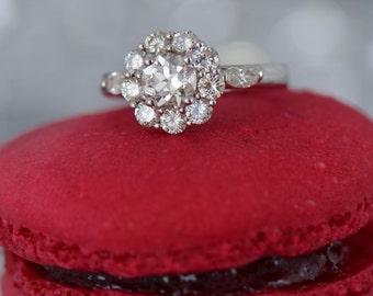 Art Deco-Inspired Flower-Shaped Engagement Ring (14K and 18K White Gold)