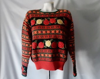 Sz M L Hand Embroidered Pullover Sweater - Herman Geist - Rose Floral - Cotton Ramie - Size 10 12