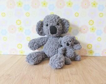 Grey Koala Plush Toys - Mommy and me - Knit Koala dolls - Stuffed koalas - Mother ad baby koala - Grey koala plush toy - Koala bear plushie