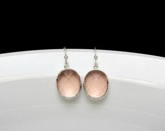 Bridesmaid blush earrings, kidney champagne earrings , blush bridesmaid earring , silver blush earrings, set of blush earrings, light blush