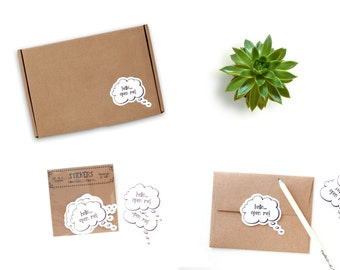 Cute Stickers - Packaging Stickers - White - Envelope Stickers - Hello Open Me Stickers