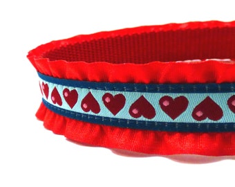 Red Hearts with Ruffle dog collar /ribbon dog collar