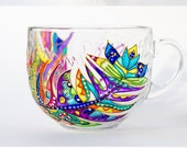 Large Coffee Mug, Glass Tea Mug, Feather Decor, Gift for her, 17 oz mug
