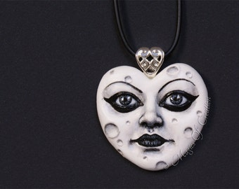 White heart moon pendant: Love is Moon! Hand painted cast sculpture portrait of moon, gift for moon lovers! Valentine's day gift idea!
