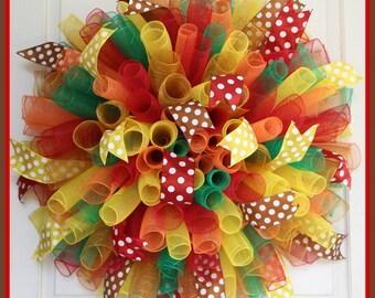 XL Turkey Curly Mesh Wreath – Spiral Multicolor Deco Mesh Wreath – School Colorful Rainbow Fall Harvest Thanksgiving