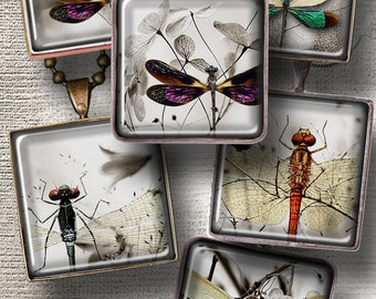 """Dragonflies Minimal - Printable Digital Downloads - 1""""x1"""" tiles - Digital Collage Sheet CG-564S for Jewelry, Crafts"""
