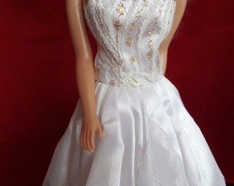 Doll bride sparkly white dress and pearl necklace, Barbie wedding dress, 11 & 1/2 inch doll party dress, white dress, princess dress, white