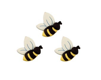 Summer Outdoors Cute Bumble Bee Buttons Yellow Black White Honey Bee Baby Shower Favor Idea Sewing Bee Keeper Gift For Gardener Nature Lover