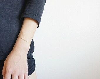 Gold Filled Satellite Chain Bracelet, Gold Filled Beaded Chain Bracelet, Simple Satellite Chain Bracelet, Gold Layer Bracelet, Minimalist