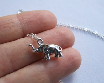 Elephant Necklace, Sterling Silver Charm, Dainty Necklace, Animal Jewelry, Gift for Her
