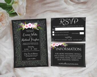 Modern Wedding Invitation Suite, DIY, Printable, Instant Download!