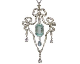 Edwardian Diamond Aquamarine Pendant, In White Gold, Antique Aquamarine Necklace, Antique Diamond Necklace, White Gold Antique Pendant