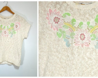 Vintage 80s Pastel Pink Embroidered Applique' Floral Sweater | Short Sleeve Boucle Knit Blouse | Spring Pink Flower Cut Out Knit Top | Small