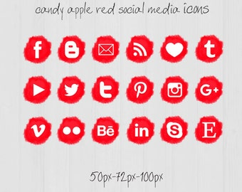Candy Apple Social Media icons - pompon - Cute Blogger Wordpress Blog Buttons PNG