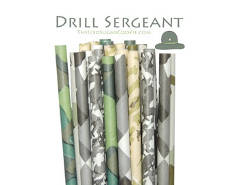 Army Drill Sergeant Paper Straws-Army Birthday Party, Army Baby Shower, Camo Birthday Party Paper Straws by The Iced Sugar Cookie