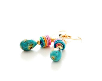 Turquoise Fiber Bead Earrings. Colorful Boho Earrings. Fiber Bead Jewelry.