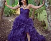 Purple Wedding Dress with Sexy Slit Sweetheart Neckline