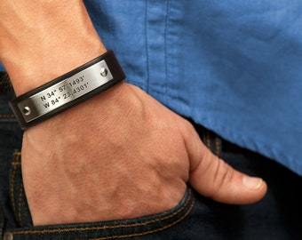 Mens Personalized Leather Bracelet - Great Husband Gift, Father Gift, or Anniversary Gift for Men