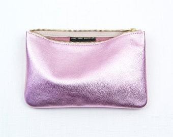 JANE Ballet Pink Leather Clutch. Metallic Pink Leather Clutch. Soft Pink Leather Clutch