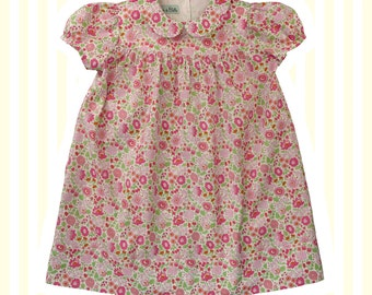 Girl's Liberty Print Peter Pan Smock Dress | Baby to 6 Years | Pink D'Anjo