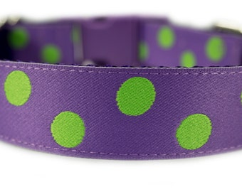 """Purple Dog Collar 1"""" Polka Dot Dog Collar Green Dog Collar"""